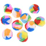 """Towashine 10Pcs Small Assorted Color Kitty Yarn Puffs Cat Toys Cat Chase Balls 1.37"""" Diameter"""