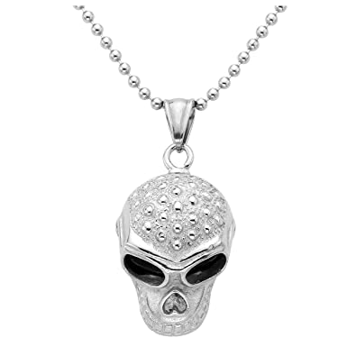 zysta stainless steel gothic mens oil drip skull skeleton necklace pendant vintage halloween jewelry