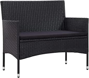 Unfade Memory Rattan Patio Bench Loveseat Seating, Outdoor Benches with Cushion (Black & Black)
