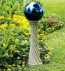 Stainless Steel Gazing Ball with Polyresin Twisted Stand in Silver