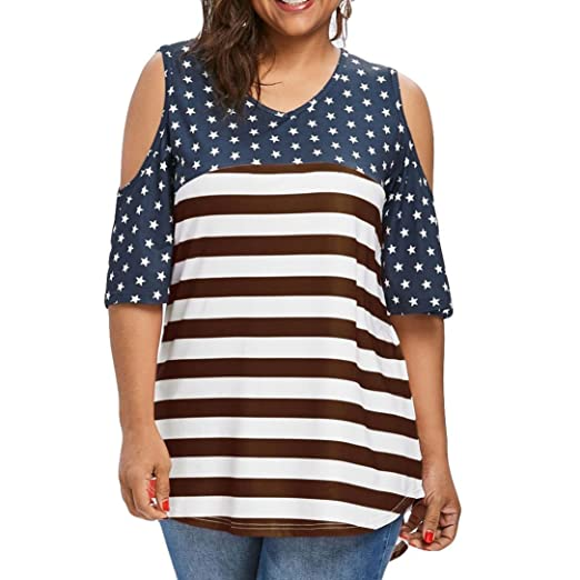 8379565ba3657c Howley Fashion Womens Plus Size Stripe Blouse Notation Print Short Sleeve T-Shirt  Tops (