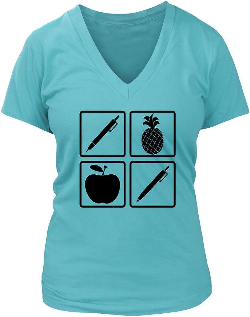 Pen Pineapple Apple Pen #288 - Adult Women's V-Neck T-Shirt
