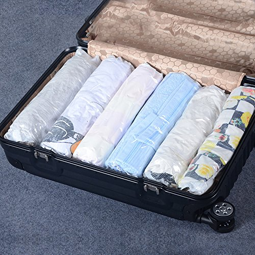 Travel Space Saver Bags 12 Pack Roll Up Compression No Vacuum Needed Storage Bags for Luggage Clothes & Home Closet, #1 Perfect Christmas Gift for Frequent - Saver Space Perfect