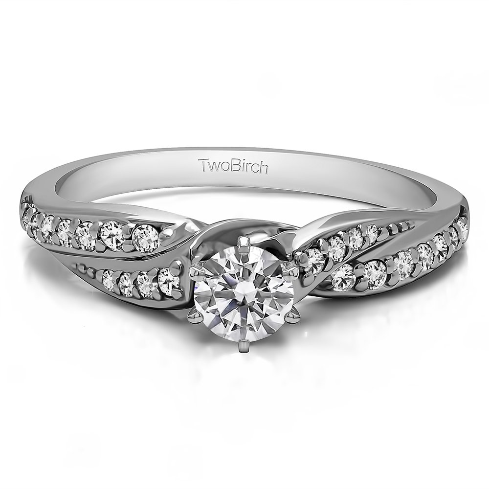 TwoBirch .5 ct. Diamonds G,I2 Twisted Shank Promise Ring in Silver (Sizes 3 to 15, 1/4 Size Intervals)