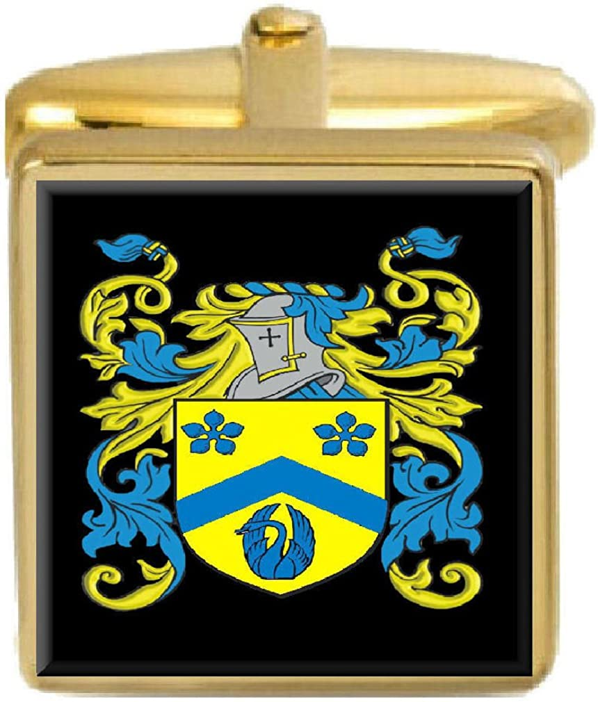 Select Gifts Rushby England Family Crest Surname Coat Of Arms Gold Cufflinks Engraved Box