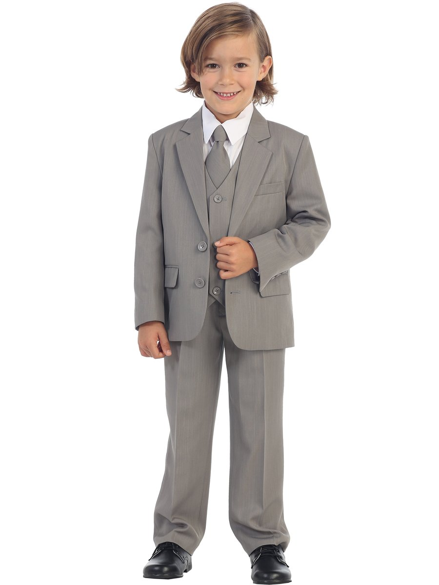 Avery Hill 5-Piece Boy's 2-Button Dress Suit Tuxedo - Light Gray 6
