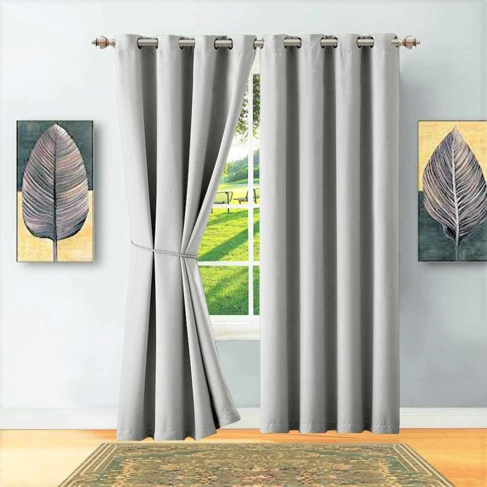 "WARM HOME DESIGNS 1 Panel of Light Grey (Silver) Blackout Curtains with Grommets. Long Size Insulated Thermal Window Panel is 54"" X 96"" in Length and Includes Matching Tie-Back. N Silver 54x96"