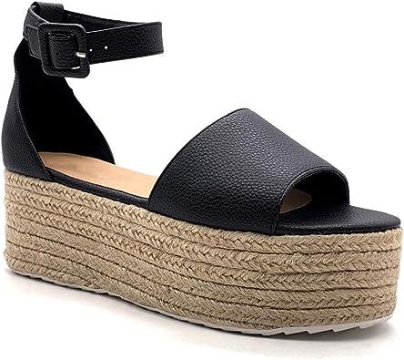 Angkorly Chaussure Mode Sandale Espadrille Ouvert Grosse Plateforme Confortable Femme avec de la Paille Boucle Talon compensé Plateforme 6 CM