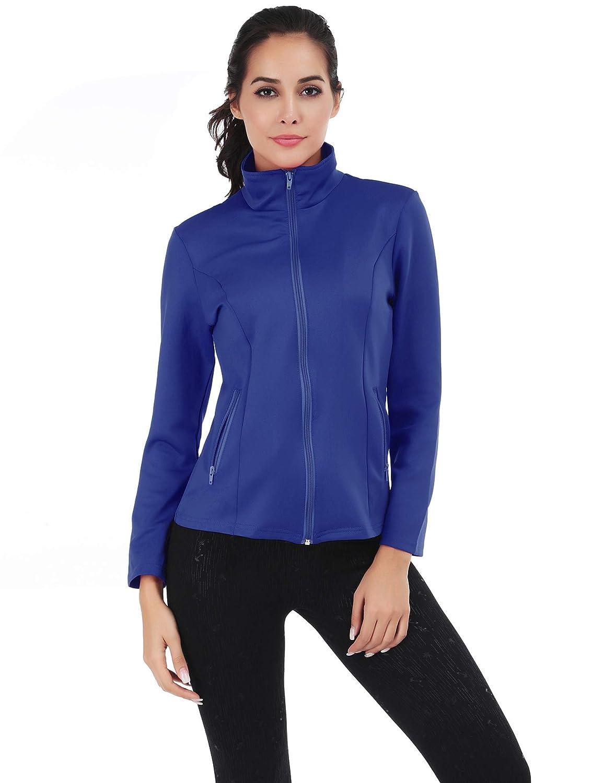bluee FISOUL Women's Running Sport Jacket Lightweight Full Zip Workout Track Jacket with Zipper Pockets