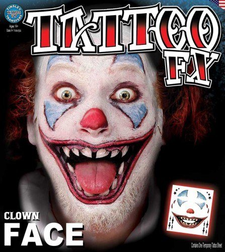 Tinsley Transfers Clown Face Tattoo Adult Accessory]()