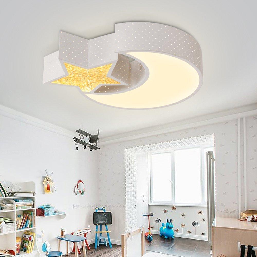 LED Deckenlampe voll dimmbar mit Fernbedienung Mond mit Stern für Kinder Schlafzimmer und Arbeitszimmer, Durchmesser 520mm (24W dimmbar),220V-240V, [Energieklasse A+++]