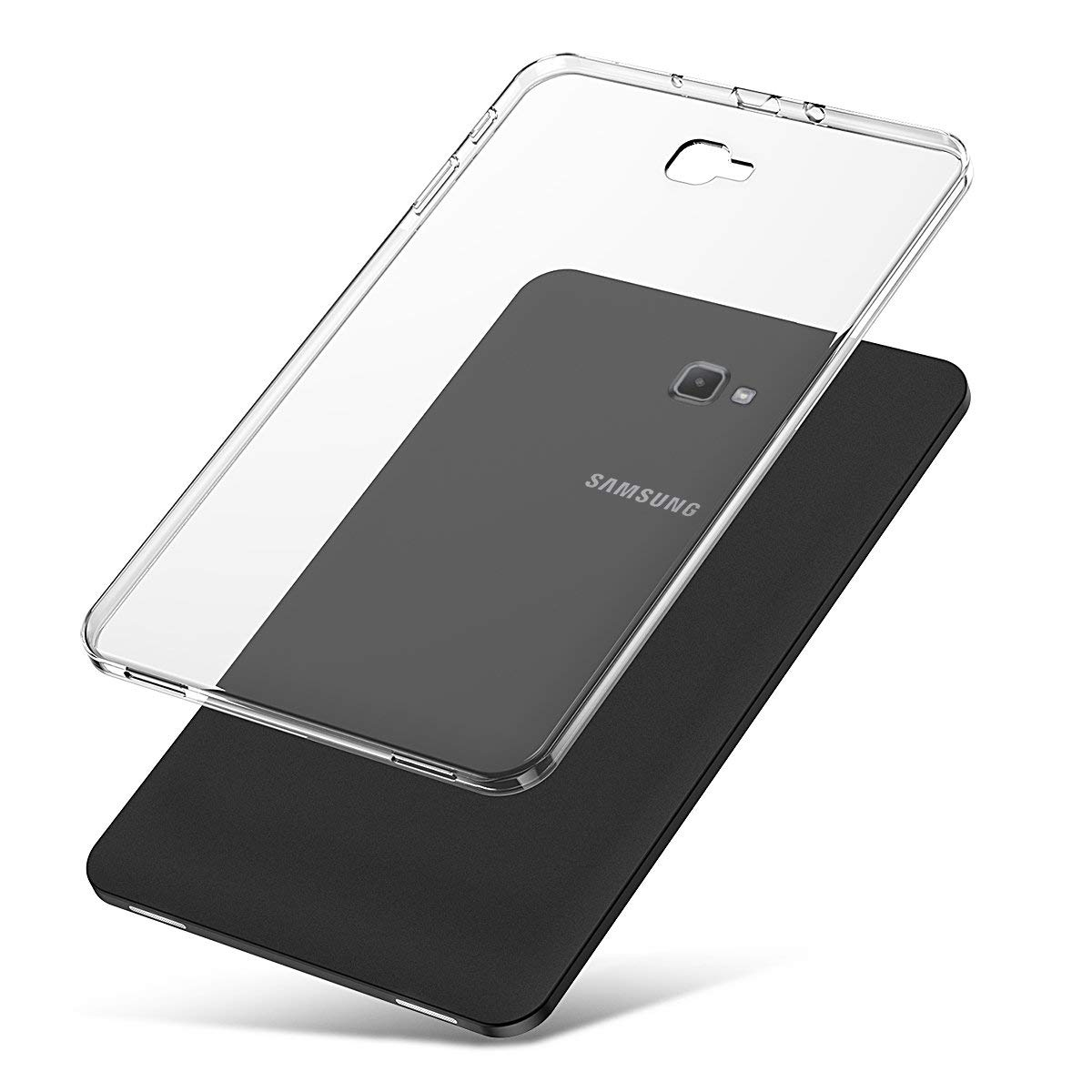 J&D ケース Galaxy Tab A 10.1用ケース [スリムクッション] [軽量バンパー] [落下保護] 耐衝撃 TPUラバースリム タブレットバックカバー Samsung Galaxy Tab A 10.1インチ SM-T580用 GalaxyTabA10.1-PBTPU-TM  透明 B07NZMS8ZP