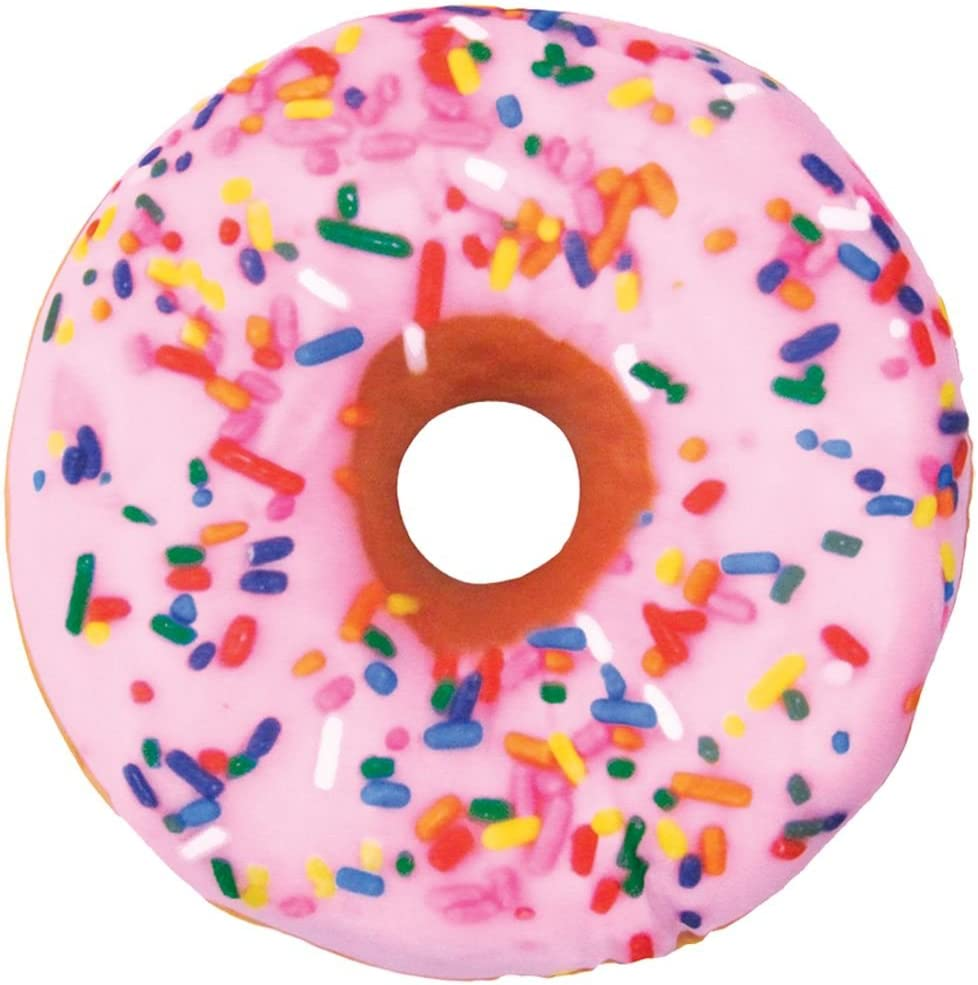 """iscream Sugar-riffic Donut Shaped Bi-Color 16"""" Photoreal Print Microbead Pillow, Pink Front/Chocolate Back, 16""""Wx16""""H"""