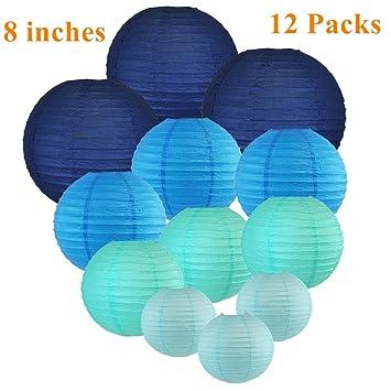 UMISSDECOR Lámparas de Papel (8 Pulgadas, Azules, Conjunto ...