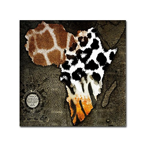 Animal Map Of Africa by Color Bakery, - Canvas Wall Art