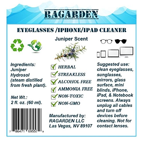 Eyeglasses/iPhone/Ipad Cleaner. Herbal. Natural. Combo: Pack of Three of 2 oz Bottles with Rosemary/Eucalyptus/Juniper Scents. Made in USA.