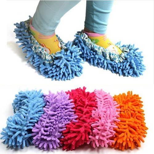 ChineOn Cute Dust Mop Slippers Shoes Floor Cleaner Clean Easy Bathroom Office Kitchen(Sky Blue)