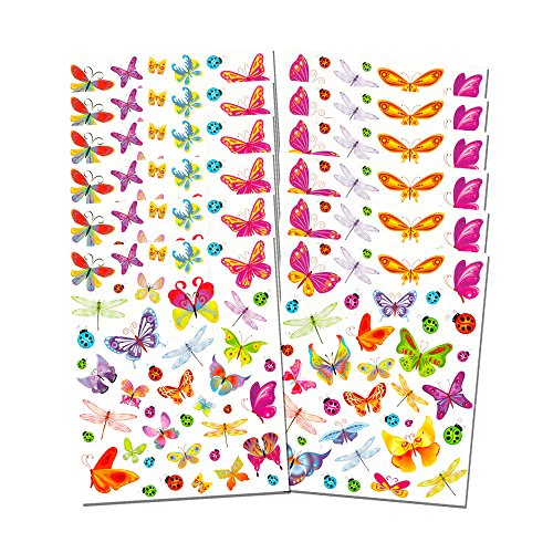 600 Stickers - Butterfly Stickers Party Supplies Mega Pack -- Over 600 Butterflies Stickers (48 Party Favor Sheets)
