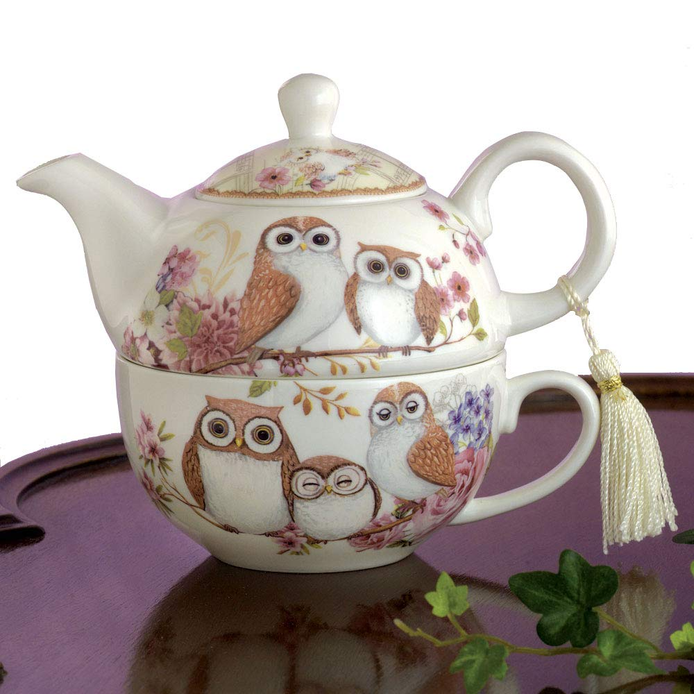 Bits and Pieces - Tea For One Owls Porcelain Teapot and Cup - Adorable Owl Design by Bits and Pieces (Image #1)