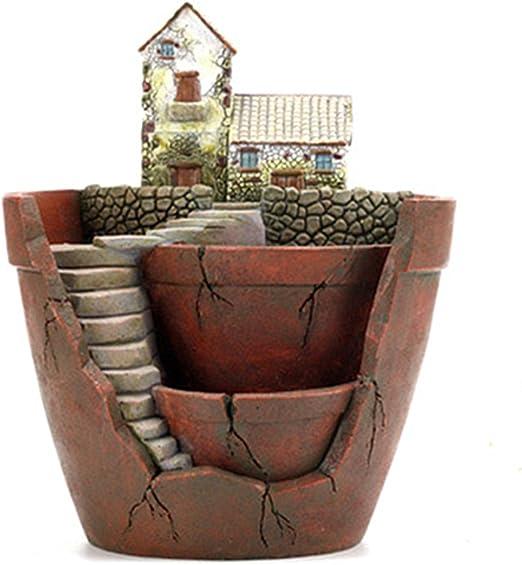Plantas Mini tamaño creativo maceta Micro paisaje plantas suculentas (jardín de hadas maceta para colgar diseño de jardín con Sweet House, Q: Amazon.es: Jardín