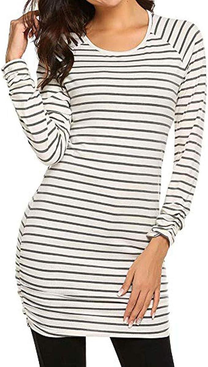 WARMWORD Camisa Mujer Manga Larga Raya Cuello Redondo Camiseta Básica Mujer Color Sólido Top Mujer Casual Jersey Stripe Shirt Otoño Verano Navidad y Carnaval, S-2XL: Amazon.es: Ropa y accesorios