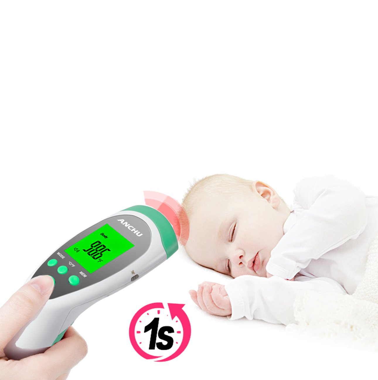 Medical Infrared Non-Contact Forehead FeverThermometer for Baby Kids Infants and Adults with Fever Indicator FDA and CE Approved by ANCHU (Image #3)