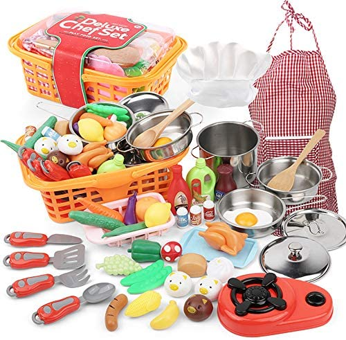 Play Kitchen Toys Food Set – 42 Pcs Kitchen Pretend Playset Toys for Toddlers Kids with Stainless Steel Cookware Pots & Pans, Apron & Chef Hat, Cooking Utensils, Play Food Toy Set