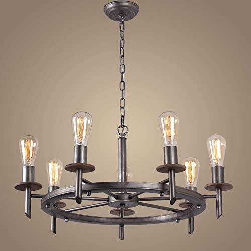 Eumyviv 7 Lights Round Industrial Chandelier Lamp, 28 D Large Vintage Dinning Table Hanging Light Fixture, C0023, Antique Silver