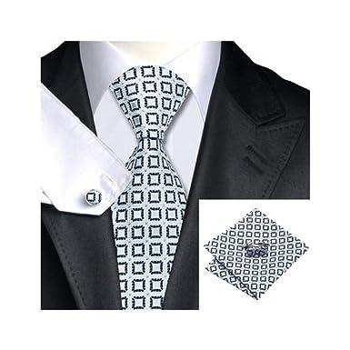 Hombres de Jacquard tejido de seda negro blanco Plaid corbata ...