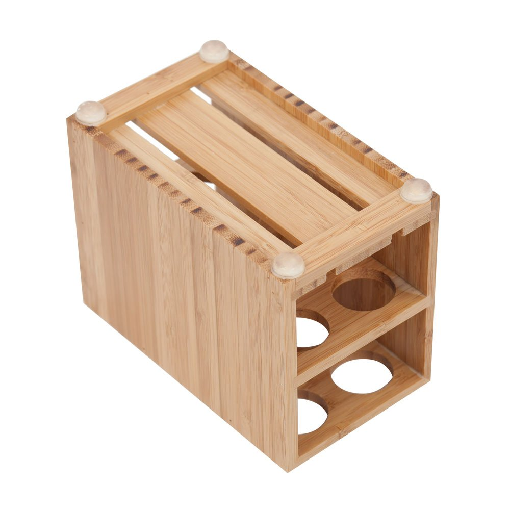MobileVision Toothbrush and Toothpaste Holder Stand for Bathroom Vanity Storage, Bamboo, 5 Slots by MobileVision (Image #4)