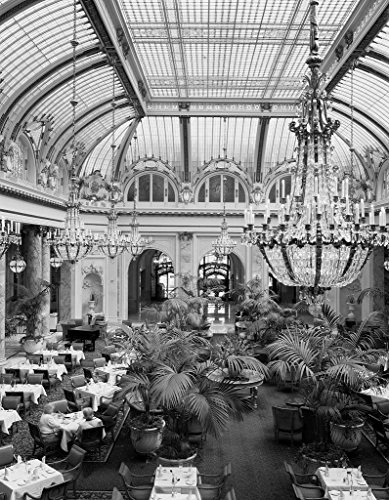24 x 36 B&W Giclee Print Garden Court Dining Room at The Sheraton Palace Hotel in San Francisco, California - Highsmith 00a