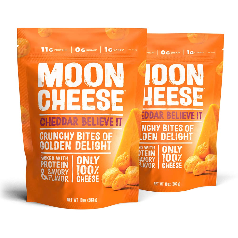 Moon Cheese Cheddar Believe It, 100% Cheddar Cheese Snacks, Crunchy Keto Food, Low Carb, High Protein, 10 oz. (2 Pack)