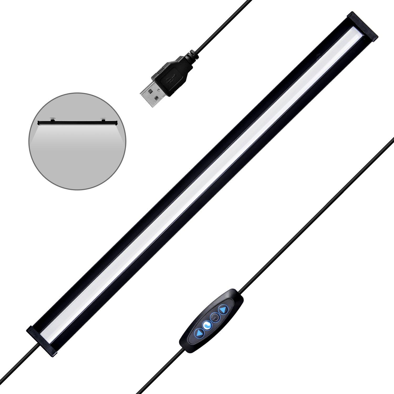 LED Under Cabinet Lights - Gshine Closet Lights, Kitchen Table Lights 16 inch USB Power Under Counter Light for Eye Protection Under Bedroom/Closet/Kitchen/Work Table(Black)