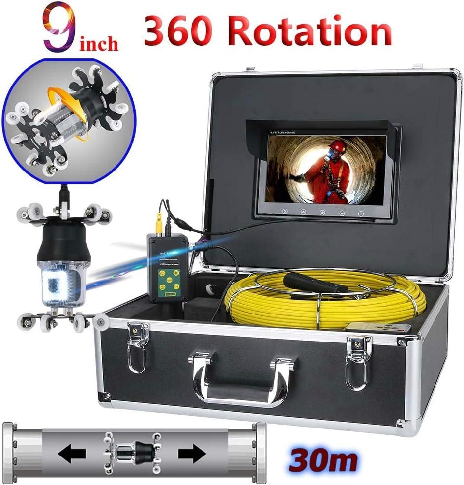 9インチパイプ検査ビデオカメラ排水管下水道パイプライン工業用内視鏡サポートIP68 38 leds 360度回転カメラ,30M  30M