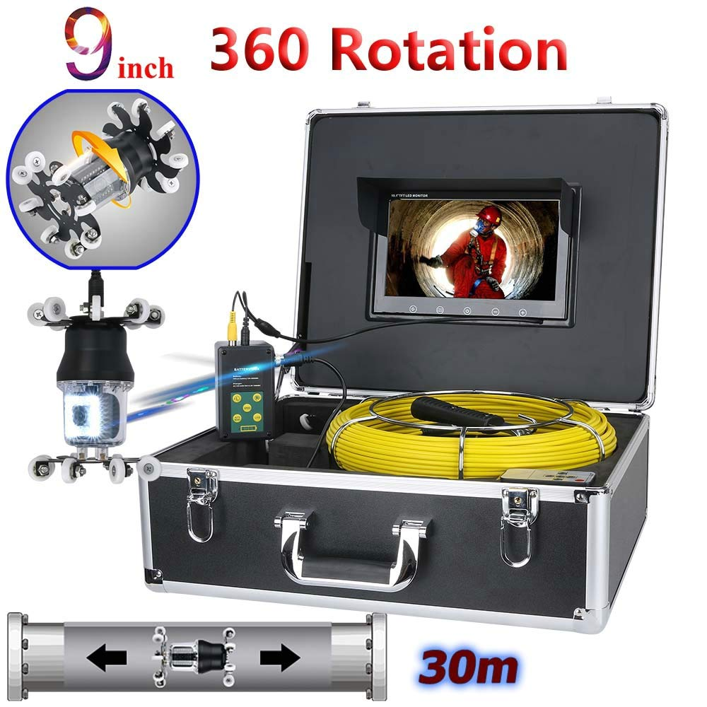 WESEAZON 9 inch Pipe Inspection Video Camera Drain Sewer Pipeline Industrial Endoscope Support IP68 38 LEDs 360 Degree Rotating Camera,30M