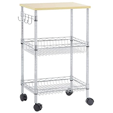 c1cb72c9c6b Heavy Duty Utility Cart Wire 3 Tier Rolling Cart Organizer NSF Kitchen Cart  on Wheels Metal