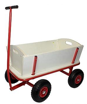 Carro de madera con neumáticos de aire y estructura de acero: Carrito de transporte con una capacidad de carga de hasta 100 kg:: Carro de transporte manual.