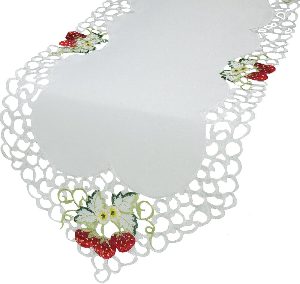 Xia Home Fashions Strawberry Embroidered Cutwork Table Runner Collection, 15 by 72-Inch