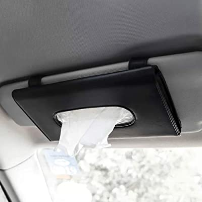 Joyindecor Visor Tissue Box Holder- PU Leather Van Truck Vehicle Car Tissues Case Dispenser for Backseat and Sun Visor, Refill Paper Included (Black): Home & Kitchen