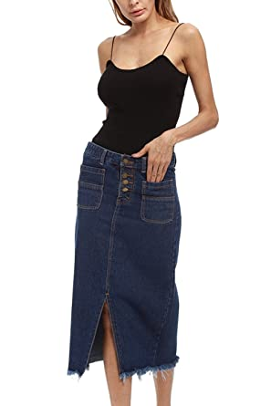 bec905f73 Women Solid Hot High Waist Denim Bodycon Galling Jeans Side Slit Skirt at  Amazon Women's Clothing store: