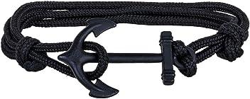 """SIX MAN """"Marine Herren Schmuck, schwarzes Paracord Armband mit Anker Verschluss (400-863)"""