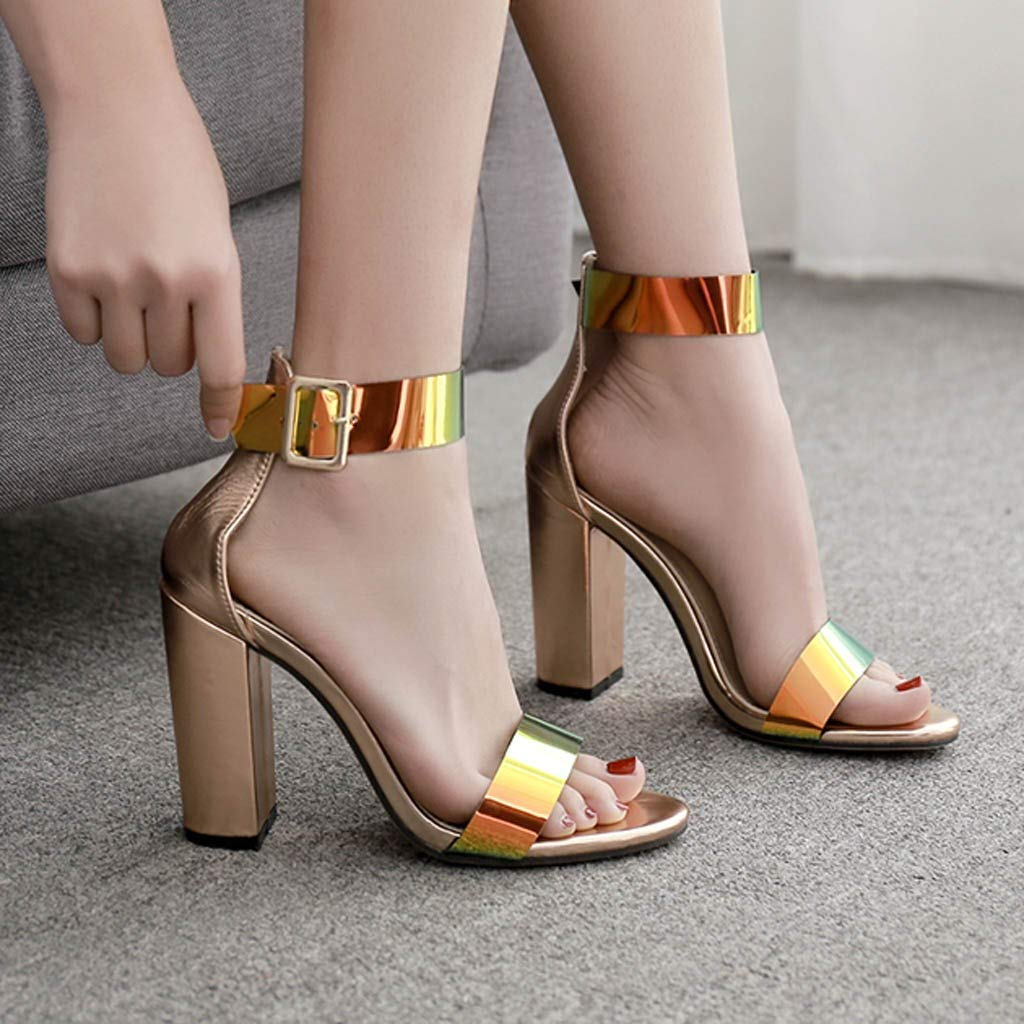 Heeled Sandals for Women Ankle Strap,FAPIZI Summer Casual Open Toe Round-Toe Fashion Sequin Nightclub Shoe by FAPIZI Women Shoes (Image #4)