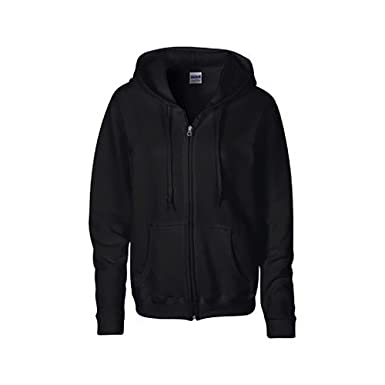 Gildan Heavy Blend Ladies Full Zip Hood Sweat   Sweatshirt Hoodie (S) (Black 071e120db3