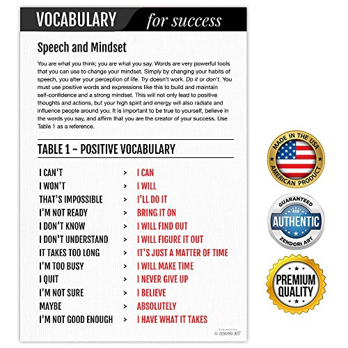 ZENDORI ART 'Vocabulary for Success' Inspirational Wall Art Made in USA - 12 x 18 (Poster on Canvas Paper)