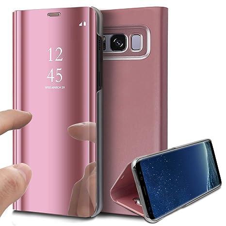 KunyFond Funda Samsung Galaxy S8,Carcasa Galaxy S8 Espejo Mirror Case Cover Leather Billetera Frontal Trasera 360 Cuero Estructura Wallet Soporte ...