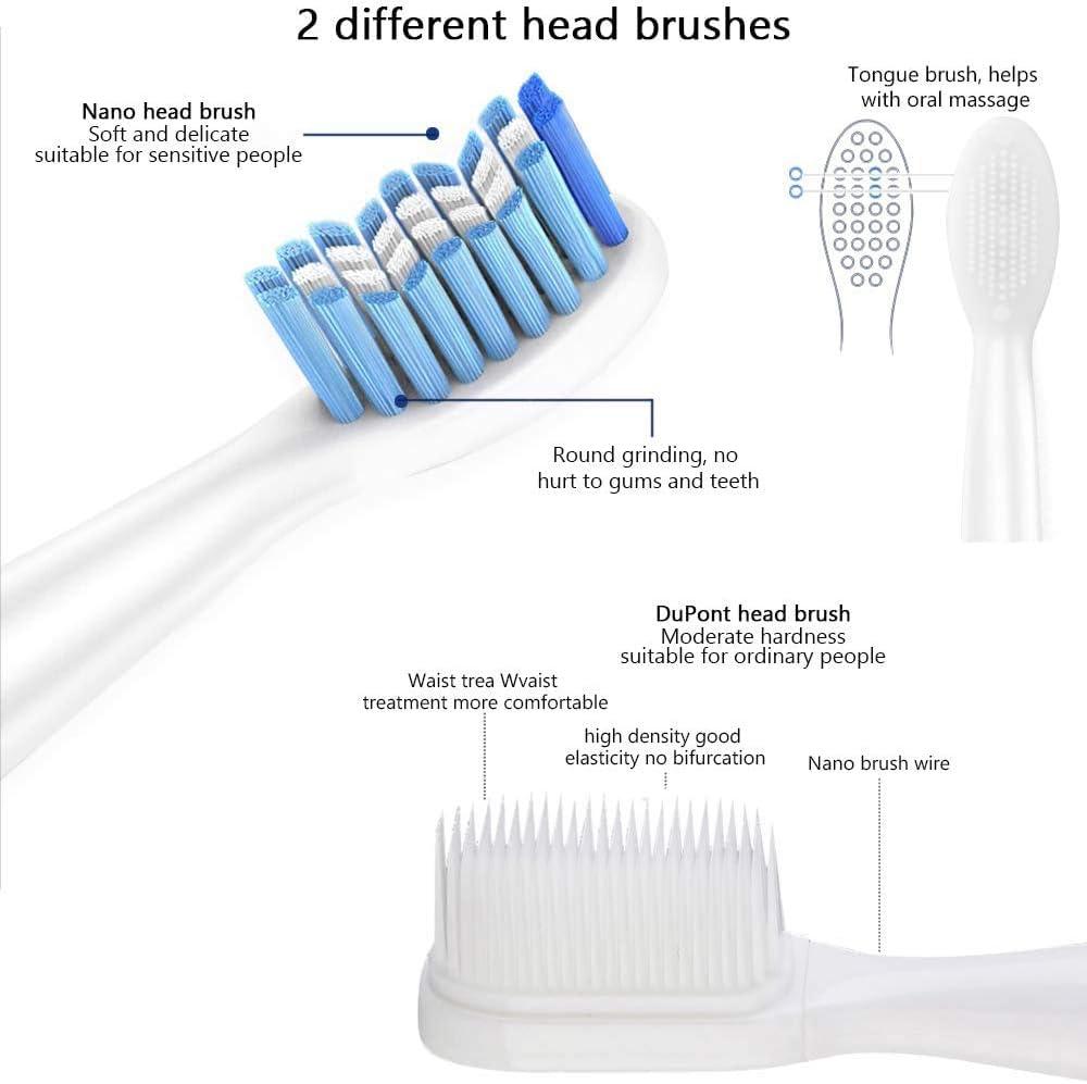 Cepillo de dientes eléctrico AISIR Cepillo de dientes sónico con cepillo de limpieza facial, IPX7, carga inalámbrica, 9 velocidades, 3 modos opcionales, 4 cabezales y 1 limpiador facial (Blanco): Amazon.es: Salud y cuidado personal