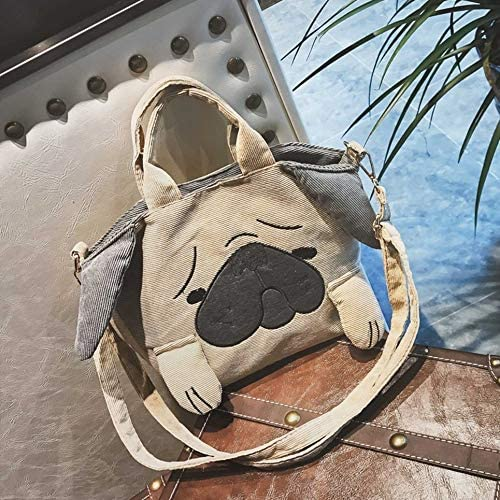 Lovely Cartoon Dog Shape Corduroy Women Shoulder Bag Small Satchel Crossbody Bag Messenger Bag Fashion Large Capacity Handbag