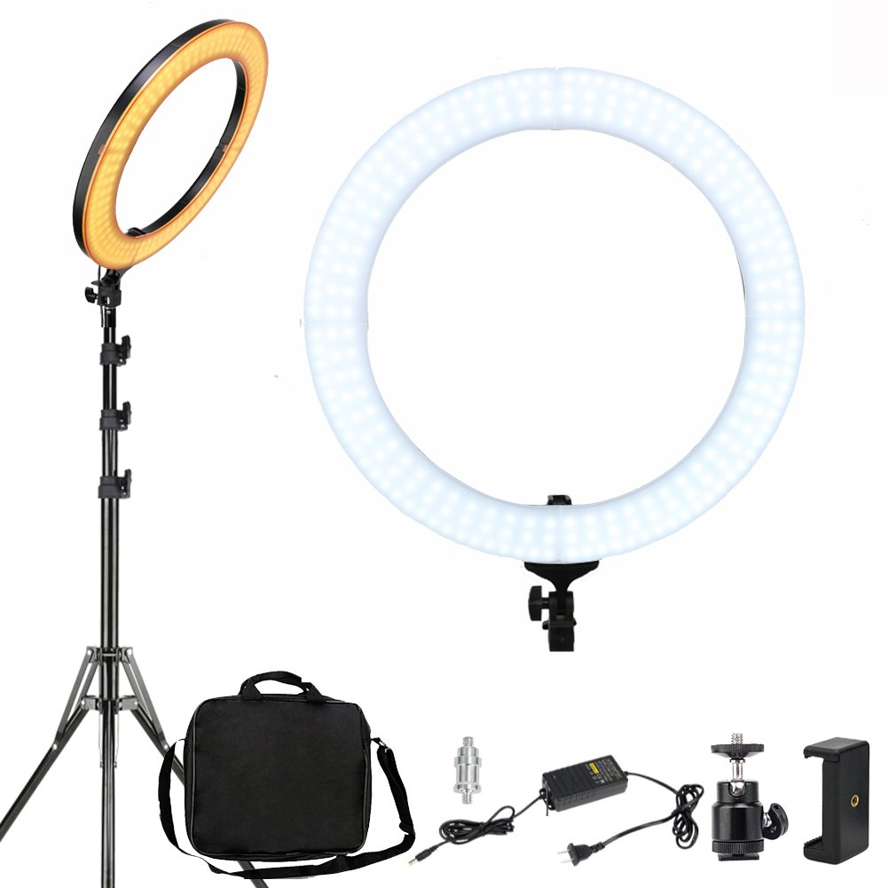 ZOMEI 18-inch Dimmable LED Ring Light, 58W 2700-5500K Output Photography Lights Professional YouTube Makeup Live Streaming Lighting, Camera Smartphone Video Photo Shoot Lights by YESSBON