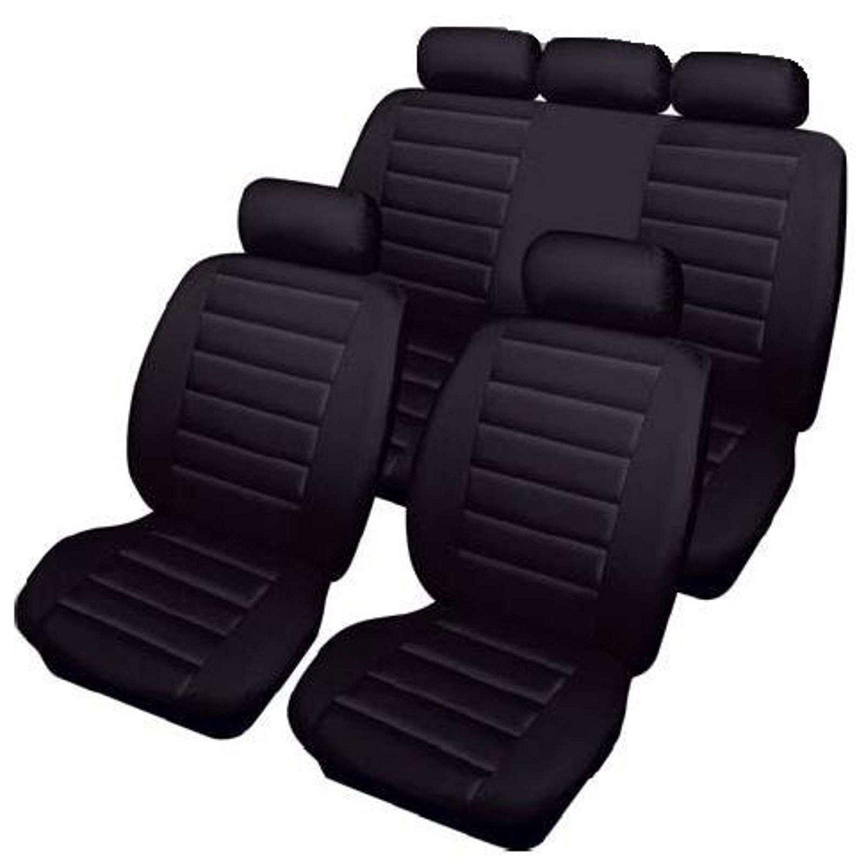 L200 DBL CAB PREMIUM BLACK SEAT COVERS BLUE PIPING 1-1 06+