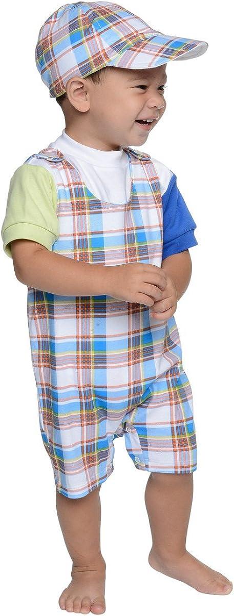 12M SNOPEA Baby Boy ADORABLE Orange /& Blue Plaid Shortall Top /& Hat